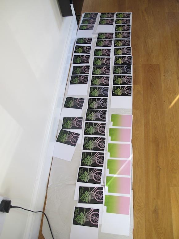 Christmas card prints in progress